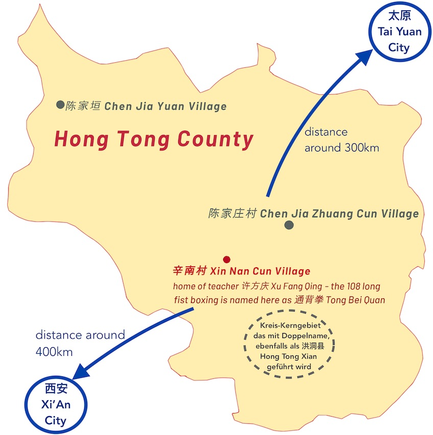 Karte Kreis Hong Tong in der Provinz Shanxi