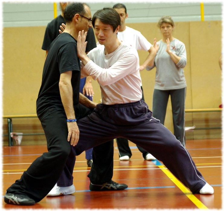 Meister Chen Peishan demonstriert Körper-Struktur und Standfestigkeit